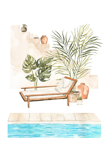 Watercolor illustration of modern interior with sunbed, plants on pots, pool and stairs. Tropical vibes. Resort decor pre-made composition. Perfect for posters, prints, magazine, cards