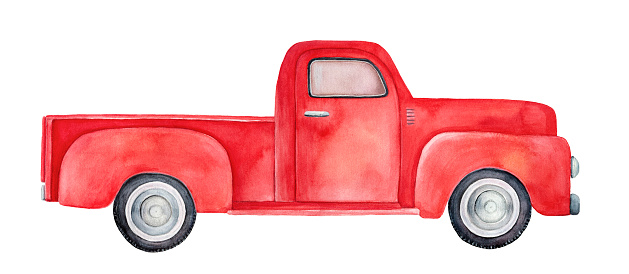 Watercolor Illustration Of Red Retro Pickup Truck Side ...