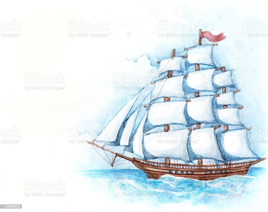 Watercolor illustration of ship royalty-free watercolor illustration of ship stock vector art & more images of adventure