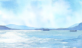 istock Watercolor illustration of sky and sea. 1222690373