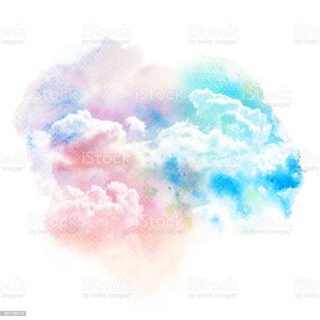 Watercolor Illustration Of Sky With Cloud Stock Illustration