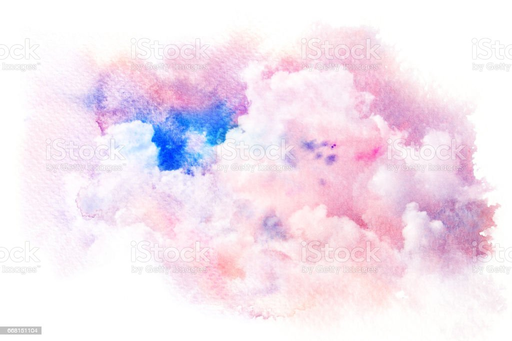 Watercolor illustration of sky with cloud. vector art illustration