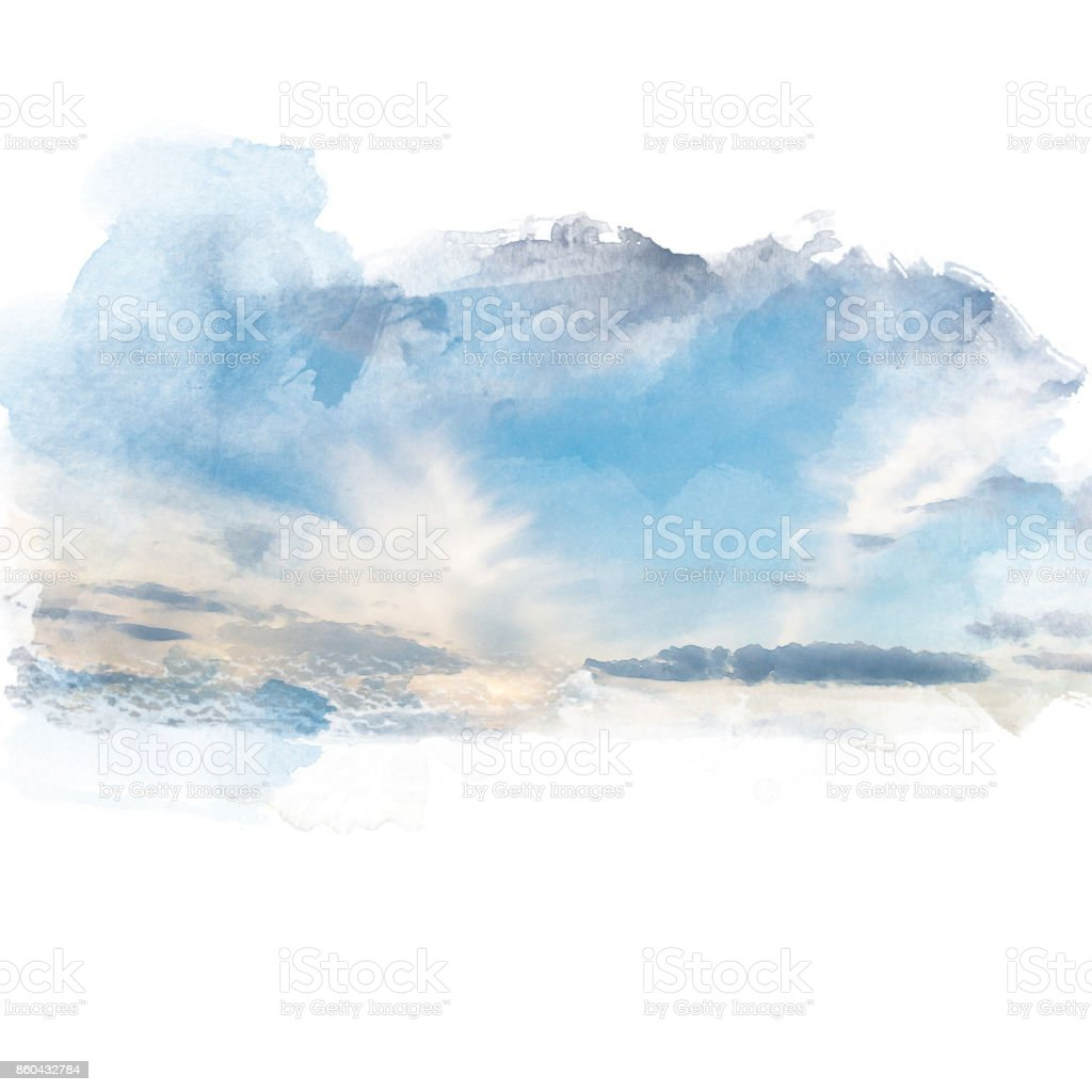 Watercolor illustration of sky with cloud (retouch). vector art illustration