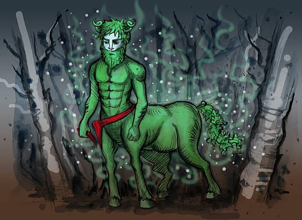 bildbanksillustrationer, clip art samt tecknat material och ikoner med watercolor illustration of slavic mythology creature - centaurus