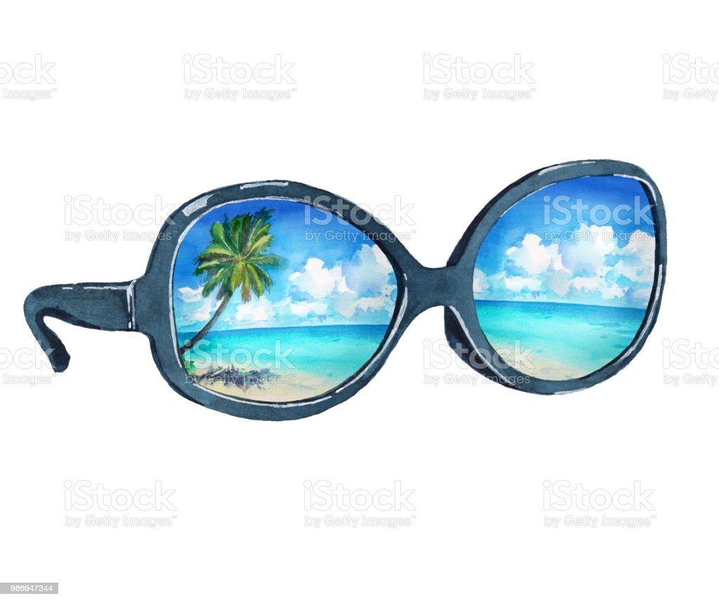 Watercolor Illustration Of Sunglasses With Reflection Of