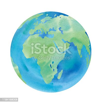 istock Watercolor illustration of the earth where Europe, Africa, Asia can be seen 1184168008