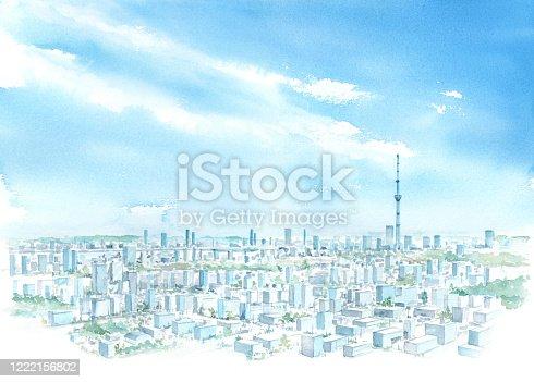 Watercolor illustration of Tokyo sky tree.