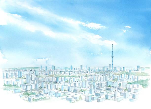 aquarell-illustration von tokyo himmel baum. - kleinstadt stock-grafiken, -clipart, -cartoons und -symbole