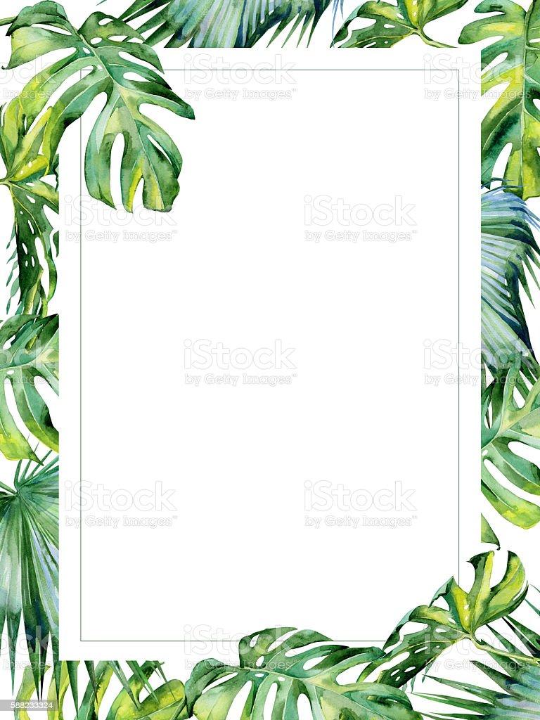 Watercolor illustration of tropical leaves, dense jungle. - ilustração de arte em vetor