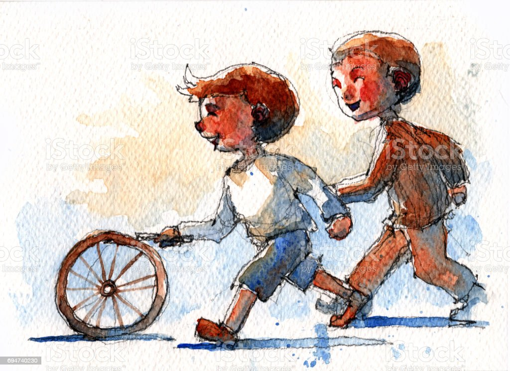 watercolor illustration of two boys playing with old bicycle wheel vector art illustration