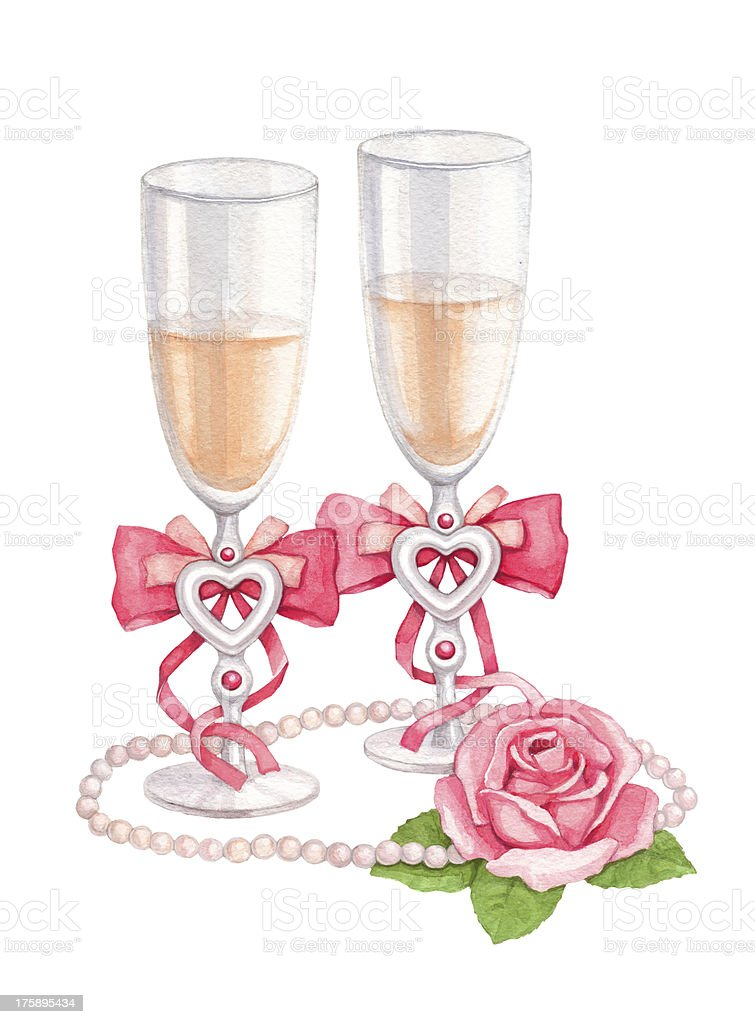 Watercolor illustration of wedding champagne glasses vector art illustration