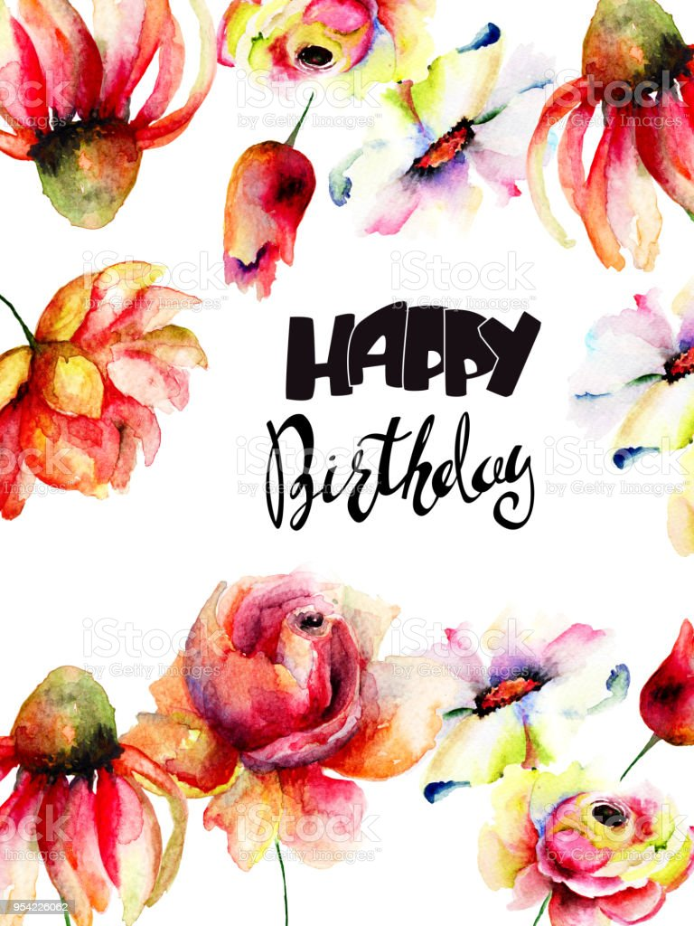 Watercolor illustration of wild flowers with happy birthday stock watercolor illustration of wild flowers with happy birthday royalty free watercolor illustration of wild flowers izmirmasajfo