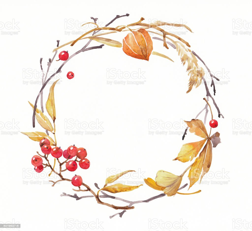 watercolor illustration of wreath with autumn natural