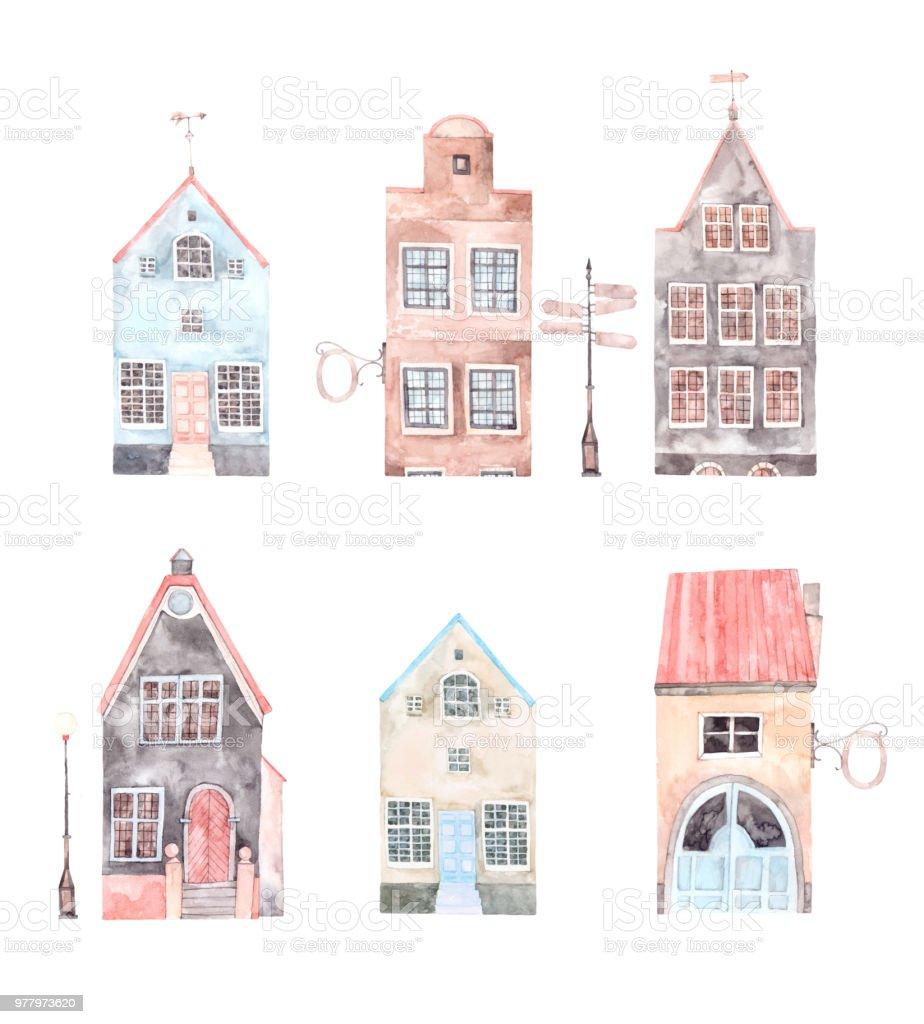 水彩イラスト古い都市 街並み住宅建物ポインターヨーロッパ招待状