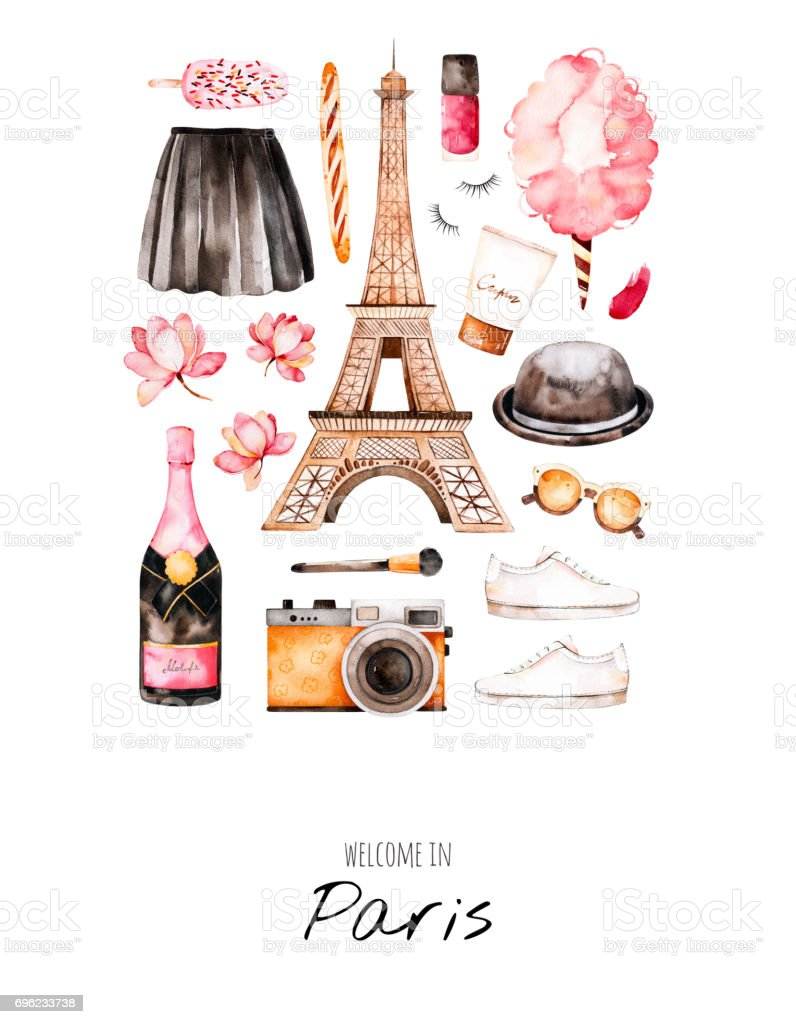Watercolor illustration Paris style vector art illustration