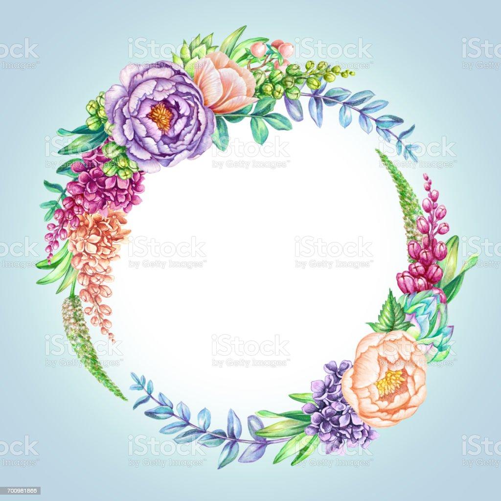 Watercolor Illustration Pastel Blue Floral Background