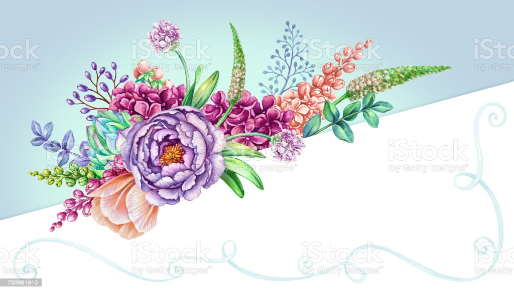 Watercolor Illustration Pastel Blue Floral Background Wild