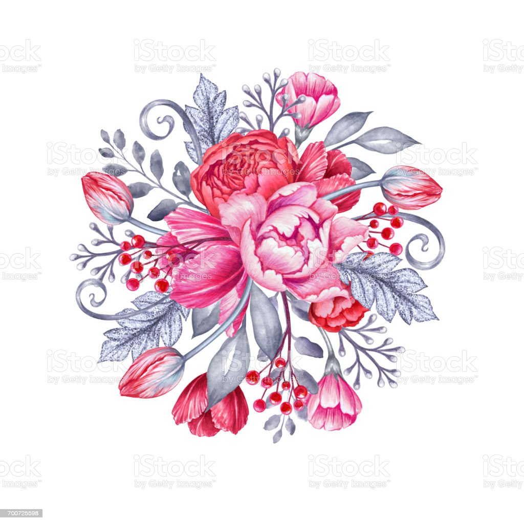 Watercolor Illustration Pink Wedding Flowers Silver Leaves Floral Background Round Bridal Bouquet