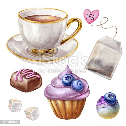watercolor illustration, porcelain tea cup, blueberry cupcake, chocolate truffle, biscuit isolated on white background