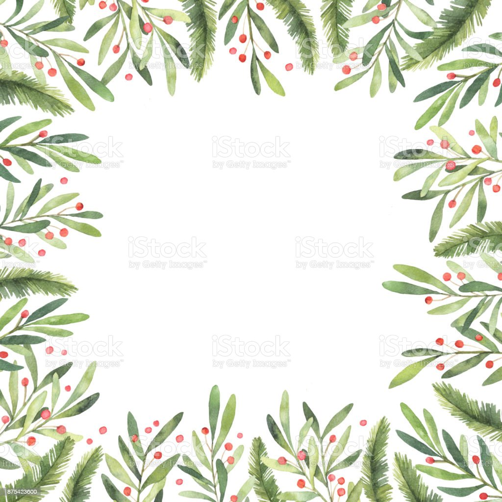 Christmas Frame.Watercolor Illustration Pre Made Christmas Frame Perfect For Invitations Greeting Cards Prints Packaging And More Merry Christmas And Happy New Year