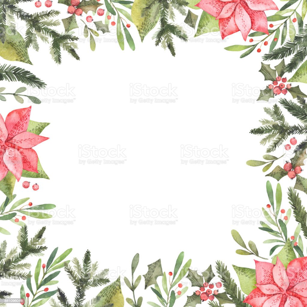 Watercolor Illustration Pre Made Christmas Frame Perfect For ...
