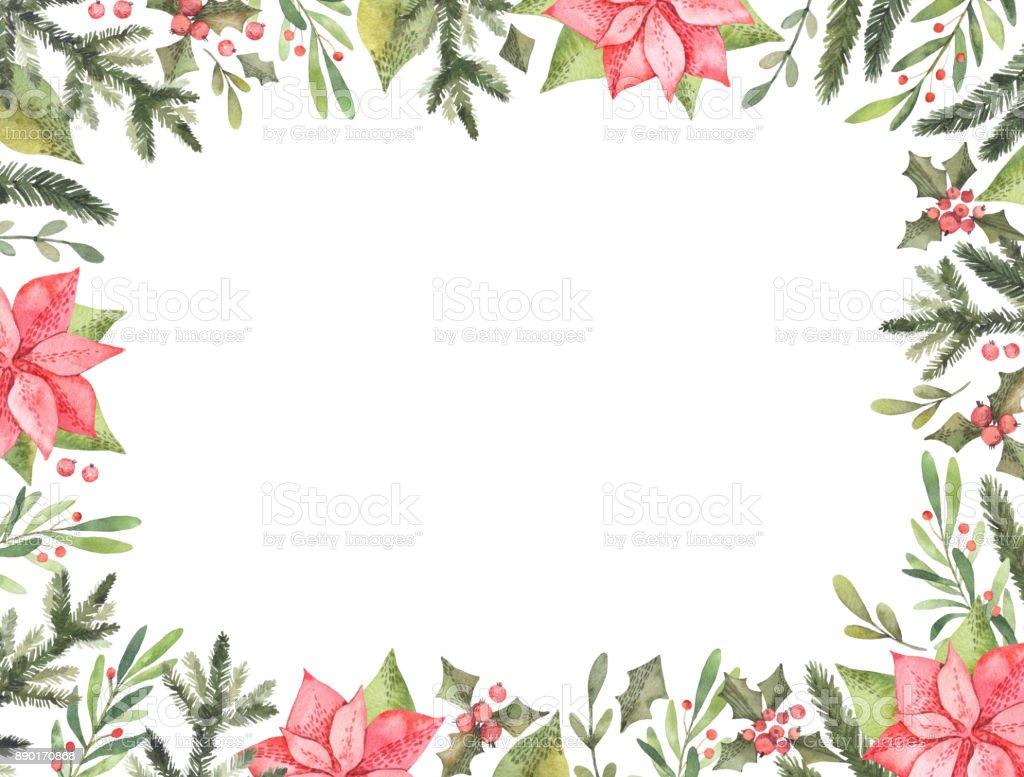 Ilustración Acuarela Pre Hizo Navidad Marco Ideal Para Invitaciones ...