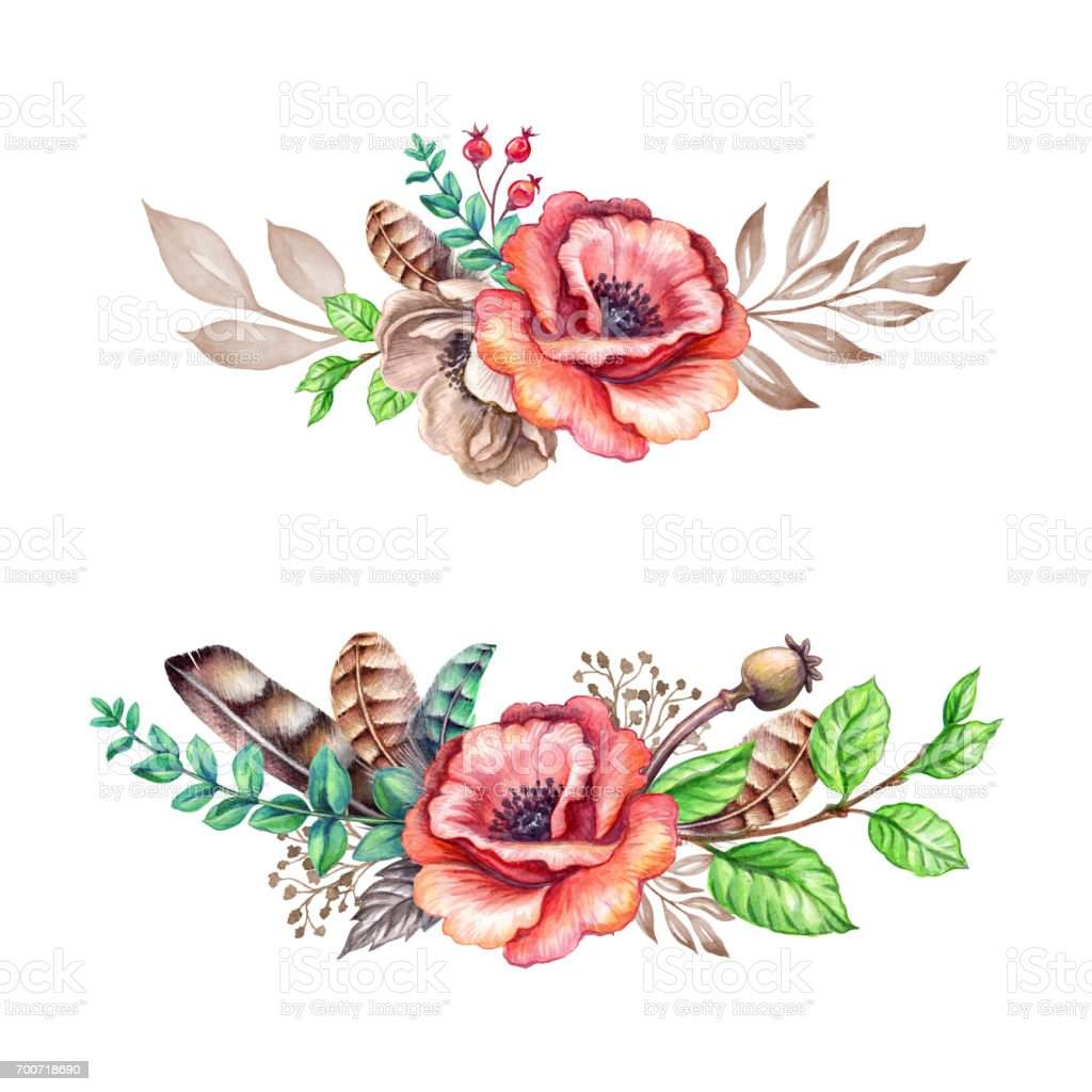 Watercolor Illustration Rustic Flowers Tribal Boho Hand Drawn Floral Decoration Isolated