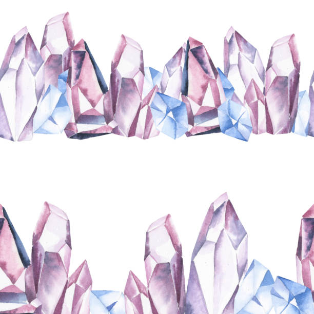 Watercolor illustration. Seamless border of gentle blue and pink crystal on white background. Watercolor illustration. Seamless border of gentle blue and pink crystal on white background. crystals stock illustrations