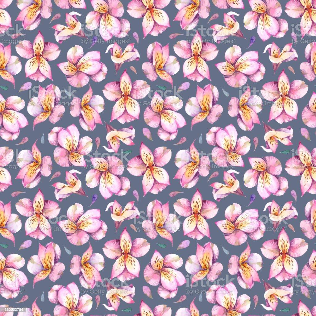 Ilustración acuarela. Patrón sin fisuras de flores rosas sobre fondo oscuro. - ilustración de arte vectorial