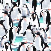 Watercolor illustration. Seamless pattern witn penguin's flock  on the snow