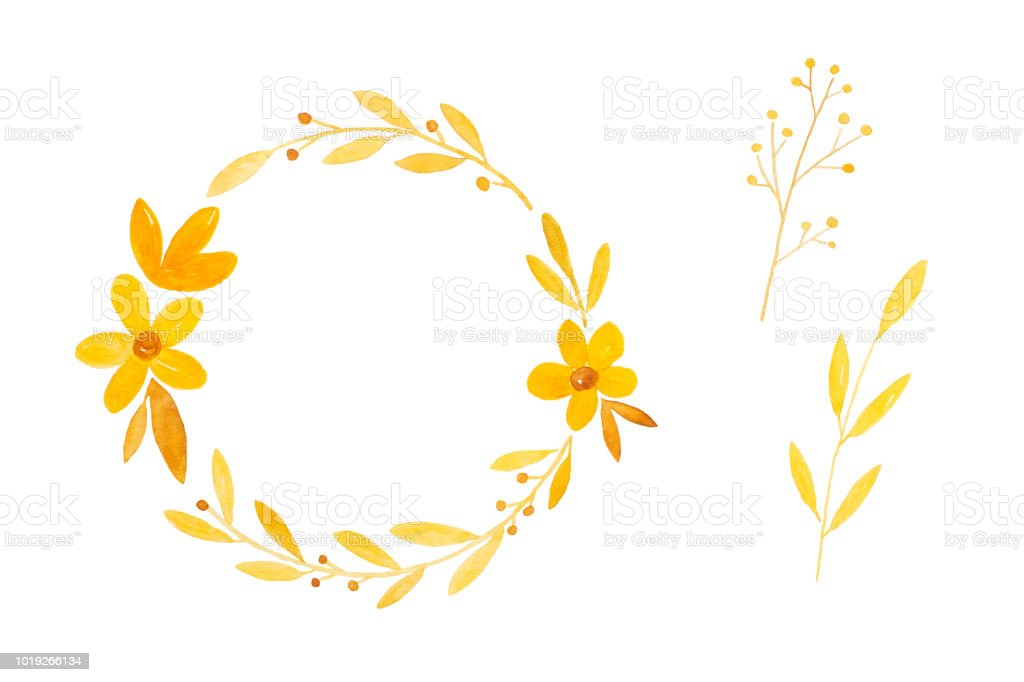 Watercolor illustration, Set of hand drawing fall, autumn flowers wreath in watercolor style isolated on white background, invitation and greeting card art design background, banner vector art illustration