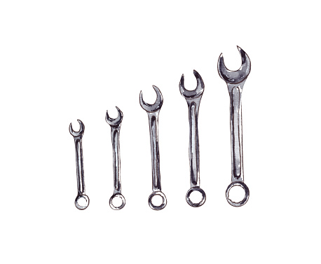 watercolor illustration set of wrenches, mechanical tools for repair.Insulated metric spanners for bolts and nuts on a white background