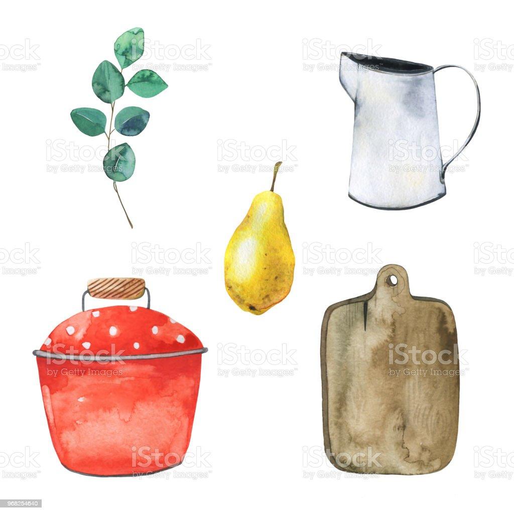 Aquarell Bild Set Mit Küchenutensilien Schneidebrett Metall Jar Rote ...