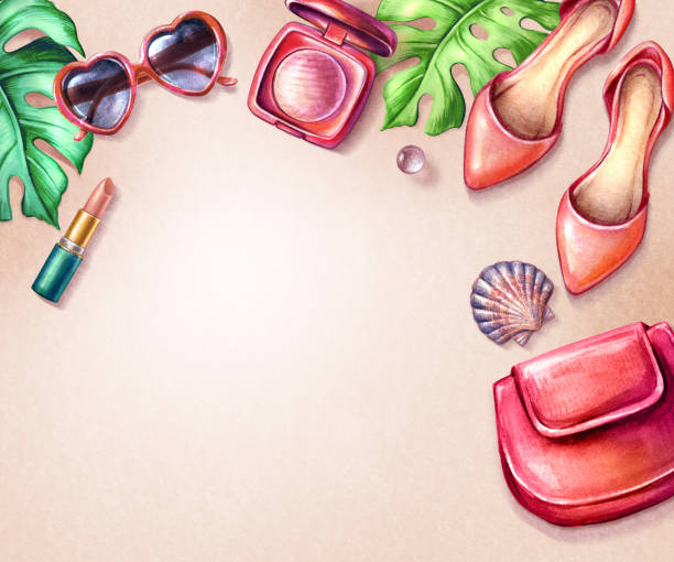 watercolor illustration, summer fashion accessories, top view, red shoes, heart shape sunglasses, purse, cosmetics, fashion blogger, female stuff, green palm leaves, blank space, woman background - summer fashion stock illustrations, clip art, cartoons, & icons