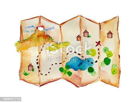 istock Watercolor illustration treasure path hiking map 1308427770