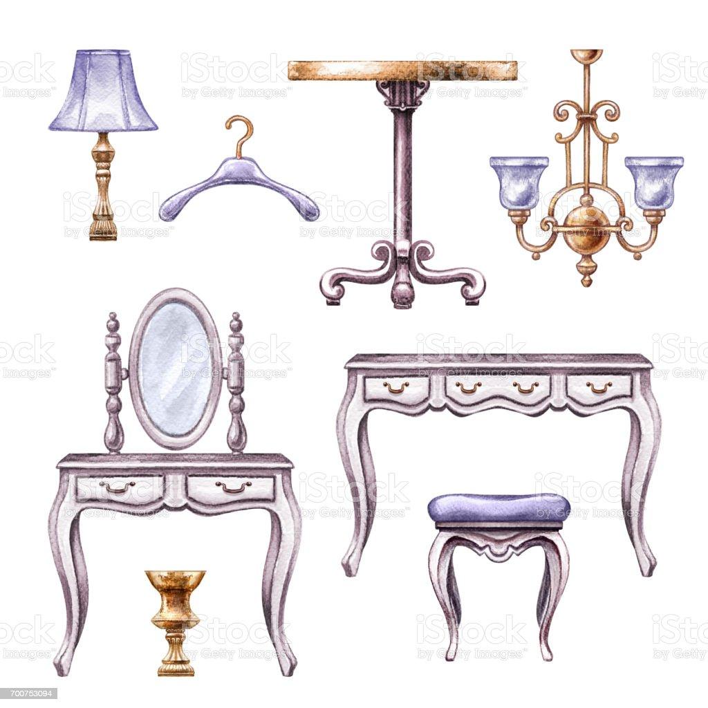 watercolor illustration, vintage boudoir room furniture, accessories, interior design elements, clip art isolated on white background - ilustração de arte vetorial