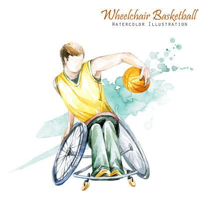 Watercolor illustration. Wheelchair Backetball Paralympic sport. Figure of disabled athlete in the wheelchair with a racket. Active people. Disability and social policy. Social support