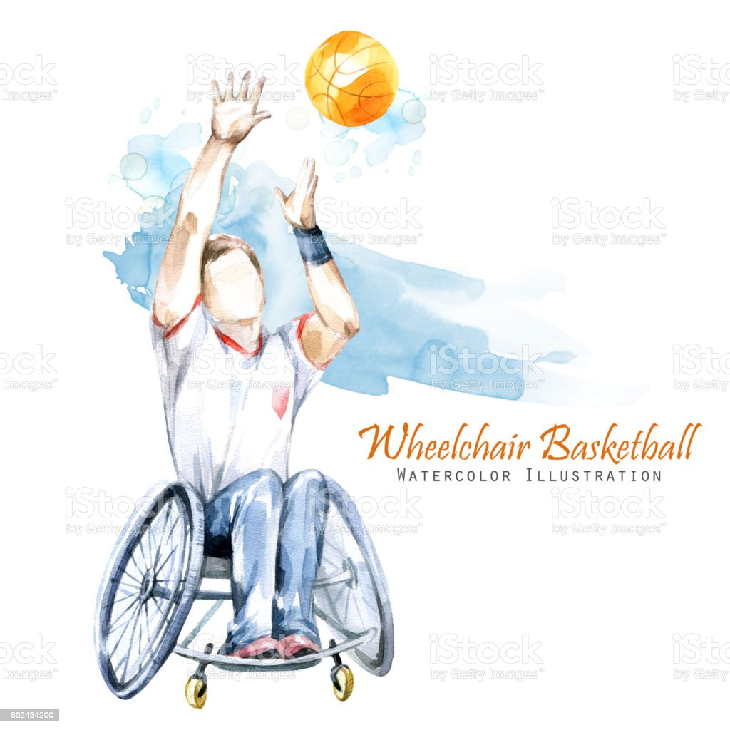 Watercolor illustration. Wheelchair Backetball Paralympic sport. Figure of disabled athlete in the wheelchair with a racket. Active people. Disability and social policy. Social support vector art illustration
