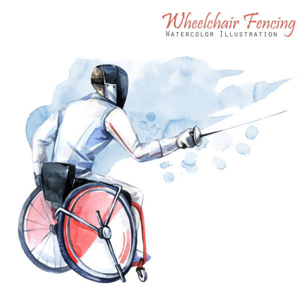 watercolor illustration. wheelchair fencing sport. figure of disabled athlete in the wheelchair with a sword. active people. disability and social policy. social support - wheelchair sports stock illustrations, clip art, cartoons, & icons