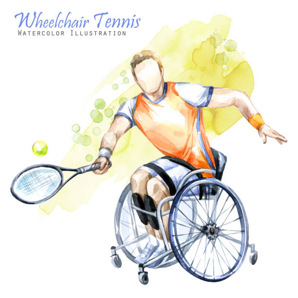 watercolor illustration. wheelchair tennis sport. figure of disabled athlete in the wheelchair with a racket. active people. disability and social policy. social support - wheelchair sports stock illustrations, clip art, cartoons, & icons