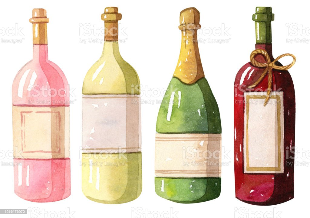 Watercolor Illustration Wine Bottles Red White Rose Stock Download Image Now Istock