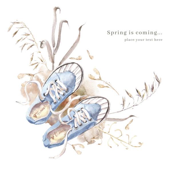 Illustration à l'aquarelle avec des baskets bleues, sol et herbes sèches - Illustration vectorielle
