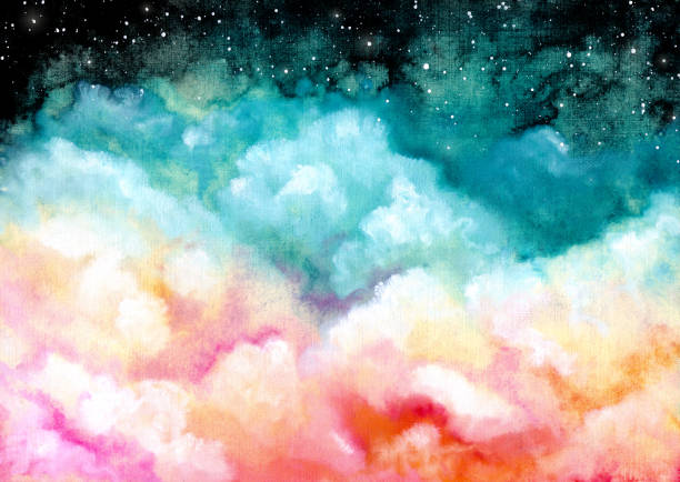 Watercolor Illustration with Clouds and Starry Sky Watercolor Illustration with Colorful Clouds and Starry Sky heaven stock illustrations