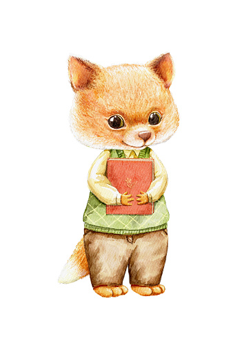Watercolor illustration with little fox in clothes animal and book