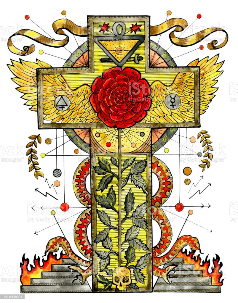 Watercolor Illustration With Rose Cross And Mystic Symbols Isolated On  White Stock Illustration - Download Image Now - iStock