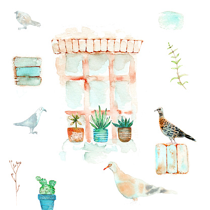 Watercolor illustration with sketch and doodle style with window, cacti, birds, plants on a white background for covers, postcards and more.