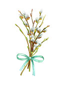 istock Watercolor illustration with willow branches. Spring botanical hand drawn background with pussy-willow and bow 1320390498
