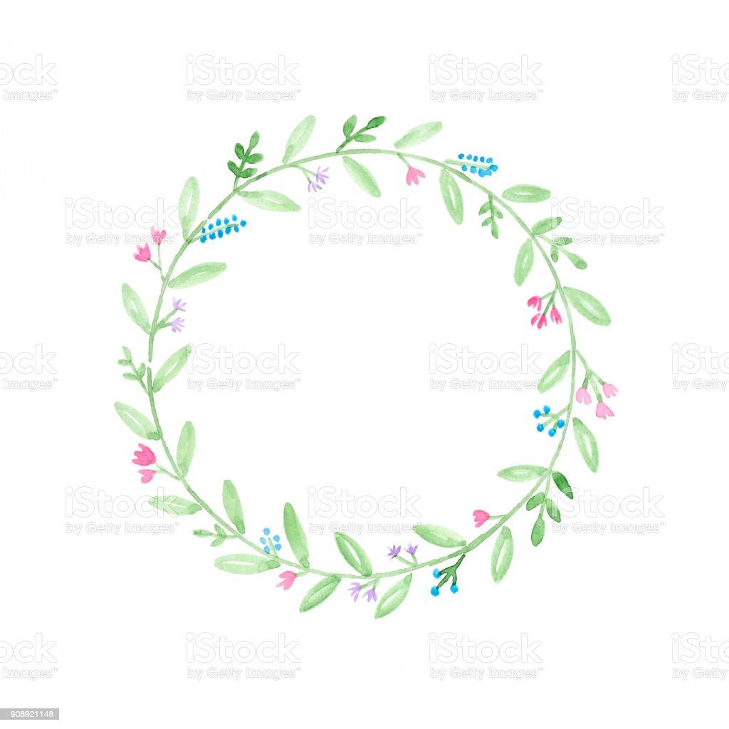 Illustrations Daquarelle Couronne De Fleurs à La Main Fleurs Dessin