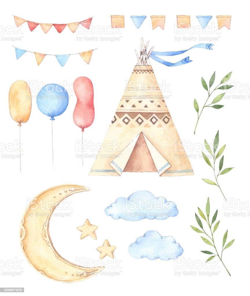 Sulu Boya Resimleri çocuklar çadır Ay Ve Yıldız Balonlar çiçek