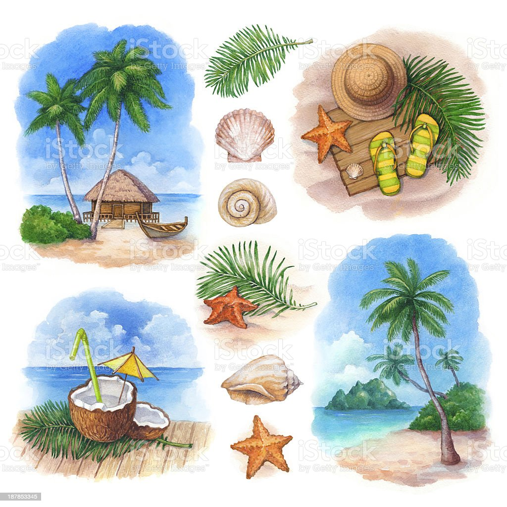 Watercolor illustrations of a tropical paradise vector art illustration